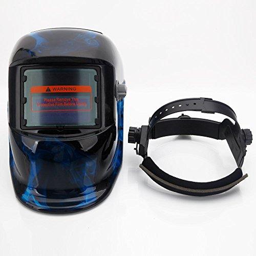 Eight24hours Pro Solar Auto Darkening Welding Helmet Arc Tig Mig Mask Grinding Welder Mask - Black Blue Skull