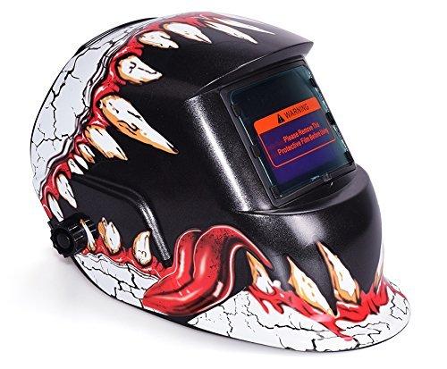 Leoneva Professional Solar Powered Adjustable Auto Darkening Welding Helmet Cool Pattern Arc Tig Mig Welding Mask Devil Pattern