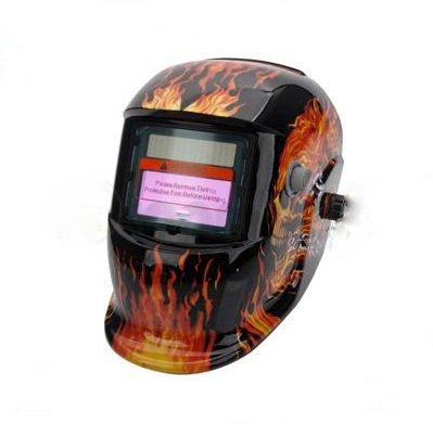 Pro Solar Auto Darkening Welding Helmet Arc Tig Mig Mask Grinding Welder Mask - Flame&Skull Black