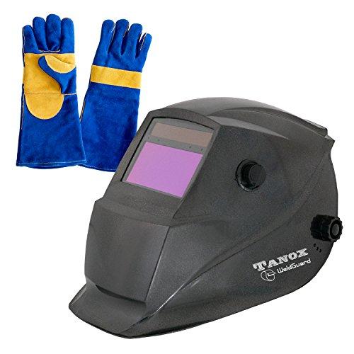 Tanox Auto Darkening Welding Helmet ADF-206S Solar Shade Lens Tig Mig MMA Adjustable Range 49-13 Grinding 0000 Plus 16 Inch Kevlar Fire Retardant Welding Gloves