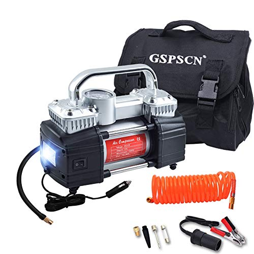 GSPSCN Silver Dual Cylinder 12V Air Compressor Pump for Car Heavy Duty Portable Tire Inflator 150PSI with LED Work Lights for AutoTruckSUV Balls etc