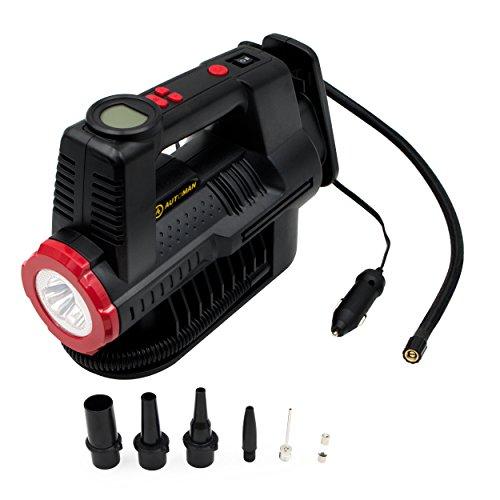 AUTOMAN 12 Volt Air Compressor Digital Gauge 150 PSI 12 V DC Portable Car Tire Inflator LED Torch Auto Shut-off 5 High air Flow Adaptors for Car motorbike Bicyclesports ballair bed AT2227B