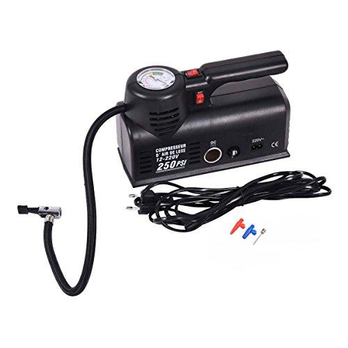 Toolsempire 250 PSI Mini Tire Inflator Pump Car Auto Portable Air Compressor WCarry bag