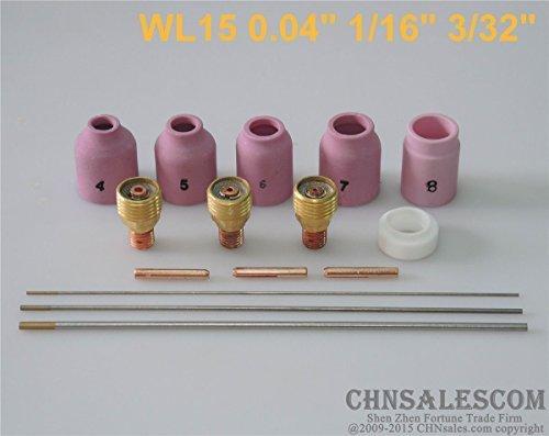 CHNsalescom 15 pcs TIG Welding Torch Gas Len Kit WP-24 WP24W WL15 Tungsten 004