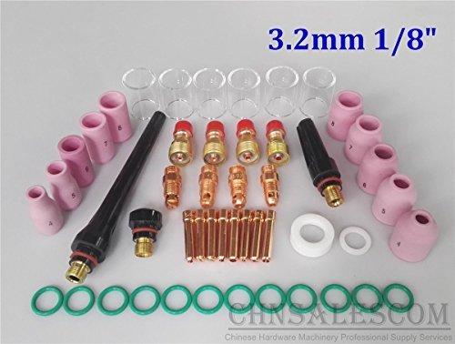 CHNsalescom 49 pcs TIG Welding Stubby Gas Len Pyrex Glass Cup Kit Tig WP-171826 Torch 18 32mm