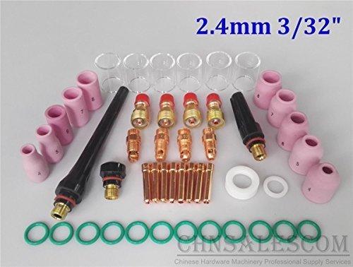CHNsalescom 49 pcs TIG Welding Stubby Gas Len Pyrex Glass Cup Kit Tig WP171826 Torch 332 24mm