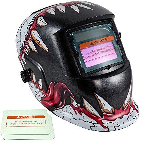 iMeshbean Pro Cool Big Skull Fangs Solar Auto-darkening Welding Grinding Helmet  Extra Lens Covers 1034 USA