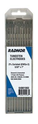 Radnor RAD64001985 532 x 7 Ground Finish 2 Ceriated Tungsten Electrode 5 Per Package English 1534 fl oz Plastic 1 x 1 x 1