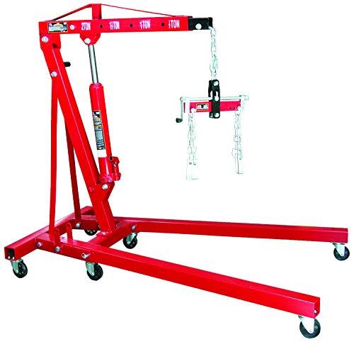 Torin Big Red Steel Engine Hoist  Shop Crane with Foldable Frame and Engine Leveler 2 Ton 4000 lb Capacity
