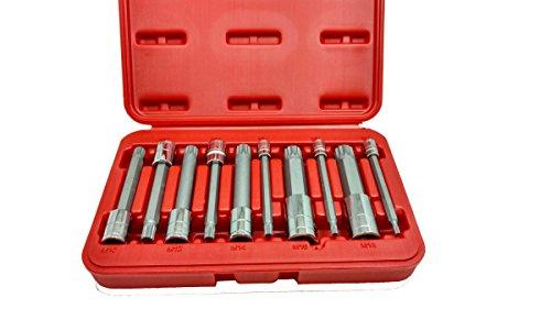 Shop-Tek  C-H 4-Inch Extra Long XZN Triple Square Spline Bit Socket Set S2 Steel  10-Piece Set