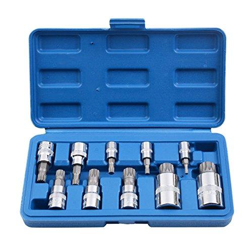 Socket Set Triple Square Spline Bit Tamper Proof 10PCS XZN 12 Point MM Automotive Mechanics Tool Sets Complete - House Deals