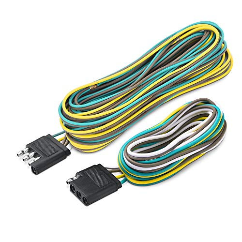 MICTUNING Trailer Wiring Harness Extension Kit - 4 Pin 25 Feet Male and 6 Feet Female Connector 18 AWG Color Coded 4-Way Flat Wires for Under or Over 80 Inches Wide Trailers
