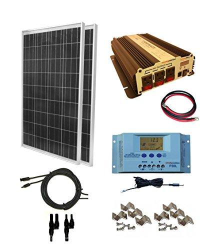 WindyNation 200 Watt 2pcs 100 Watt Solar Panel Kit with 1500W VertaMax Power Inverter for RV Boat Off-Grid 12 Volt Battery Systems