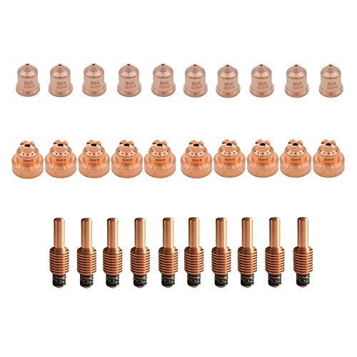 Donwind 10pcs 220816 nozzles 10pcs 220842 electrodes 10pcs 220818 shield caps plasma cutting consumables Fits 65 85 105
