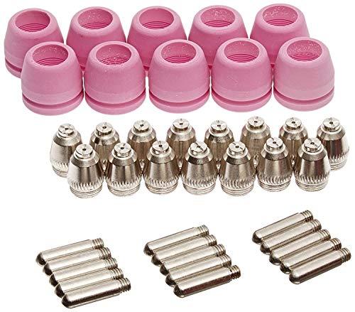 Lotos PCON40 Plasma Cutter Consumables 15 Nozzles 15 Electrodes 10 Cups for RED Color LTP5000D LTPDC2000D and BLUE Color LTP6000 40 Pieces RED