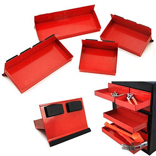 New 4pc Magnetic Toolbox Tray Set Cabinet Side Shelf Storage Van Workshop