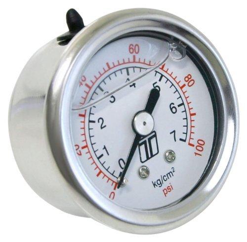 Turbosmart TS-0402-2023 0-100 PSI 0-7 Bar 18 NPT Fitting Liquid Filled Fuel Pressure Regulator Gauge
