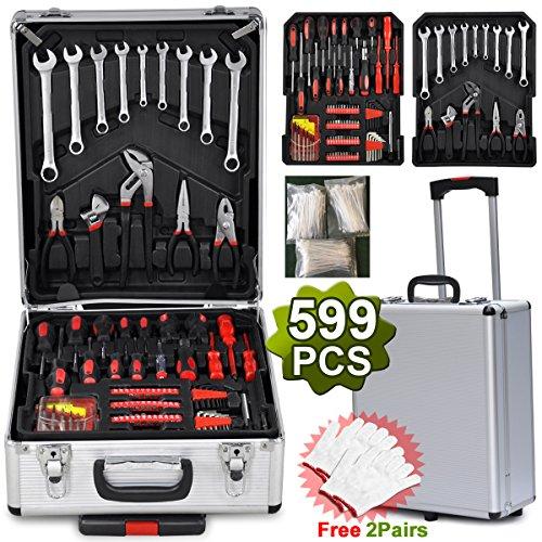Gotobuy 599pcs Mechanic Tool Set Box Trolley