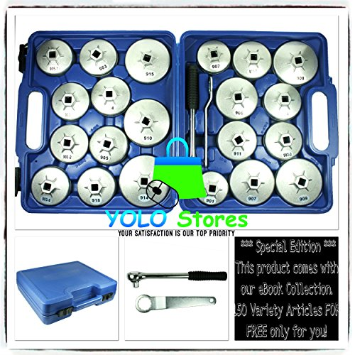 Oil Filter Tool Kit Removal Wrench Cap Car Garage Set Loosen Tighten Cup Socket Truck 23PC By YOLO Stores