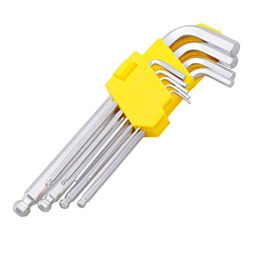 Pixnor Set of 9 Long Arm Metric Hex Key Set Hex Ball L Wrench Tool Pocket Screwdriver Kit