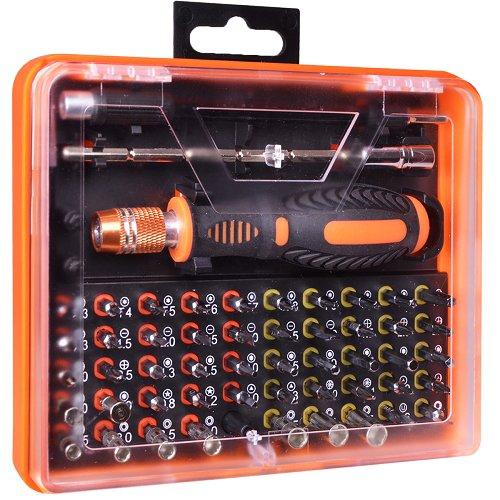 53-Piece Screwdriver Tool Kit wAssorted Bits Tweezers 2 Extension Bars Case