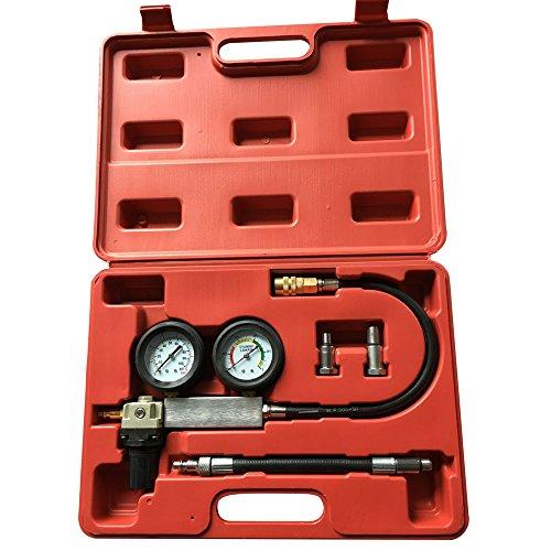 Engine Cylinder Compression Detector Leak Leakage Leakdown Leak-Down Tester Dual Gauge Kit Car Pressure Test Diagnostic Professional Tool Set with Case