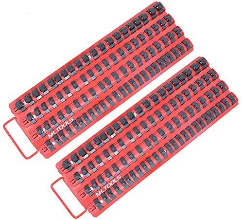 MLTOOLS Socket Organizer  2 Pack  Holds 170 Sockets  Ball Bearing Clips Socket Organizer Tray T-8316 x 2