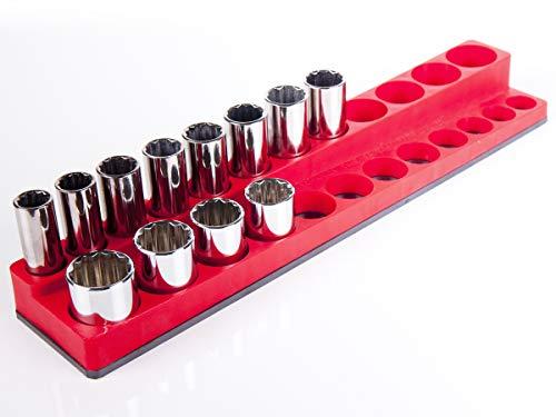 Torin Big Red Tool Storage Organizer Magnetic Socket Rack 38 Drive Sockets