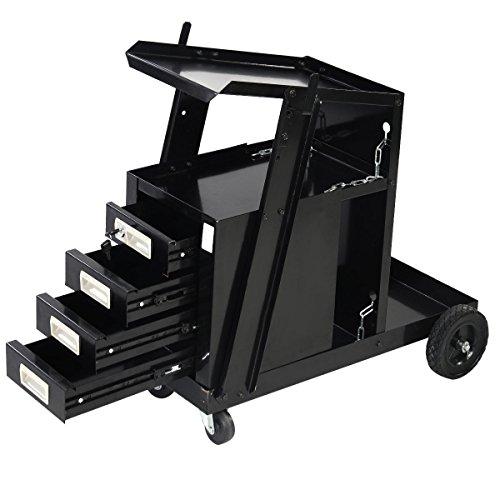 Goplus Welding Welder Cart MIG TIG ARC Plasma Cutter Tank Storage w 4 Drawer Cabinet