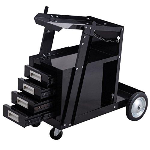 Goplus Welding Welder Cart Trolley Heavy Duty Workshop Organizer for MIG TIG ARC Plasma Cutter w 4 Drawer Cabinet