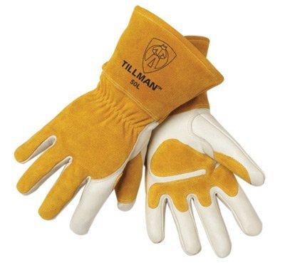 Tillman Medium 14 Pearl Top Grain Side Split Cowhide Fleece Lined Premium Grade MIG Welders Gloves With Gauntlet Cuff Seamless Index Finger And Elastic Back Carded