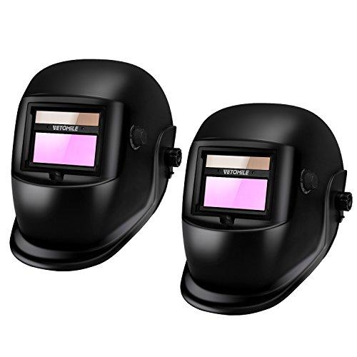 VETOMILE Variable-Shade Auto Darkening Welding Helmet Black LCD filter ADF ARC TIG MIG Welder Lens Grinding MaskPack of 2