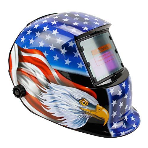 Geelife Solar Powered Welding Helmet Auto Darkening Hood with Adjustable Shade Range 49-13 for Mig Tig Arc Welder Mask Blue Eagle