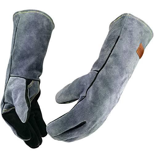 WZQH 16 Inches932℉Leather Forge Welding Gloves with Kevlar Stitching HeatFire ResistantMitts for BBQOvenGrillFireplaceTigMigBakingFurnaceStovePot HolderAnimal Handling GloveBlack-gray