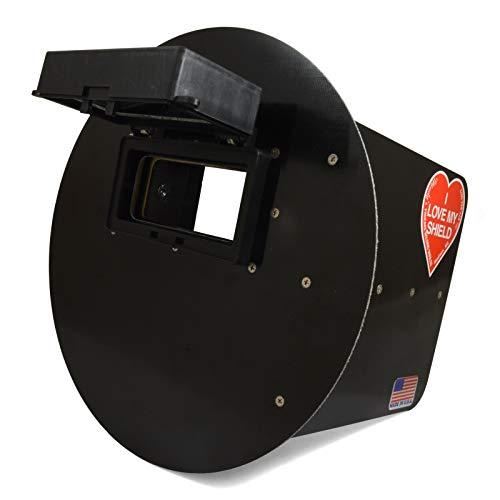 Wendys Pancake Welding Hood Helmet wStrap - Right Handed - Black FLIP UP lens