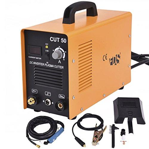 Goplus CUT-50 Electric Digital Plasma Cutter Inverter 50AMP 110-220V Dual Voltage Welder Cutting with Free Mask Yellow