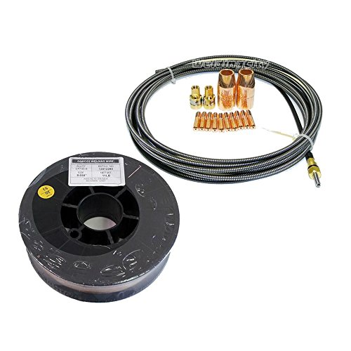WeldingCity MIG Welding Wire ER70S-6 11-lb Spool 0030 and Accessory Kit 0030 Nozzle-Contact Tip-Diffuser-Liner for Miller Millermatic M-100 M-150 Hobart H-9 H-10 MIG Gun M32W