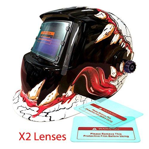 Proelectric Monster Teeth Print Professional Auto Darkening Solar Powered Welders Welding Helmet Mask With Grinding Function
