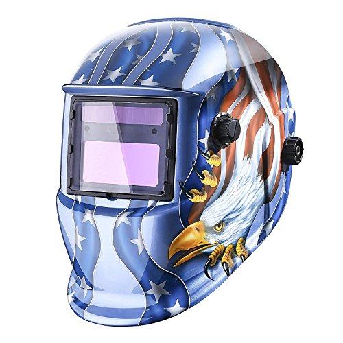 Welding Helmet Auto Darkening Solar Powered Hood with Adjustable Shade Range DIN 49-13 for Mig Tig Arc Welder Mask