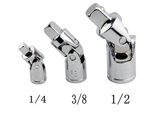 Leadrise 3pc Swivel Universal Joint Air Impact Socket Set Sizes 12 -38 -14 Inch Drive
