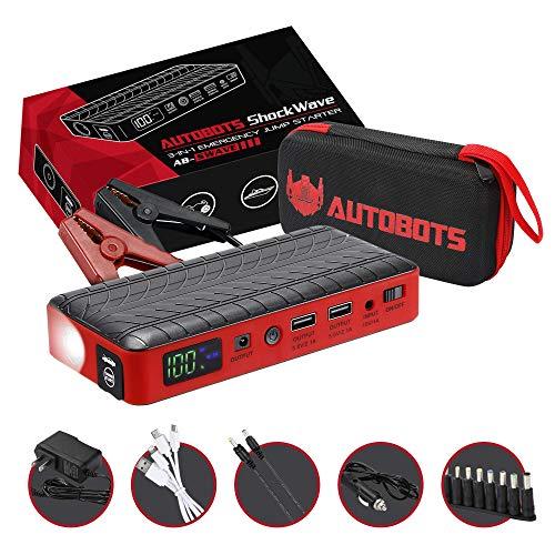 Autobots Shockwave Jump Starter  Best Portable Car Battery Booster with Smart Jumper Cables  600 Peak Amp 18000 mAh 12 V Automotive Jump Box Power Pack Mobile Super Charger Kit