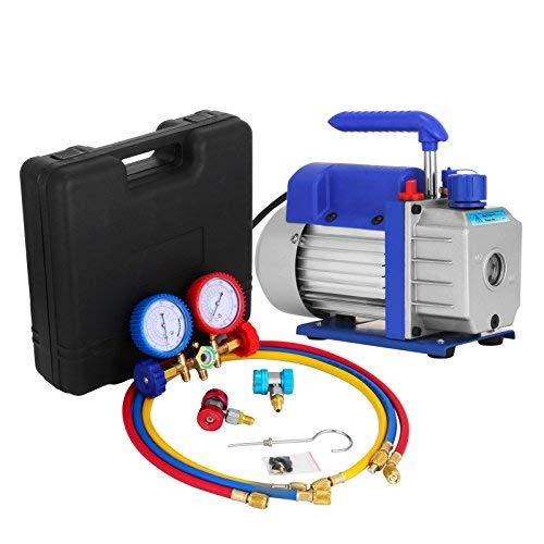 Bestauto Vacuum Pump Kit 3CFM 025 HP Air Vacuum Pump HVAC Air Conditioning Refrigerant Rotary Vane Single Stage Vacuum Pump with 3 Valve