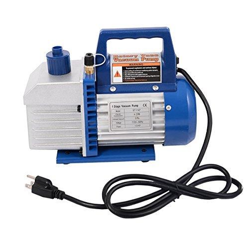 Goplus Vacuum Pump 13HP Rotary Vane Deep Refrigerant R410a R134a HVAC AC Air Tool with 14 Flare Inlet Port Single Stage 4CFM