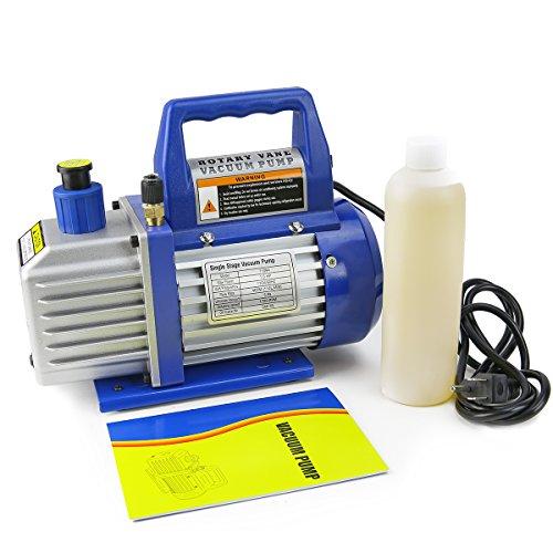 XtremepowerUS 14 HP Single Stage Rotary Vane Vacuum Pump 3 CFM Air Conditioner Refrigeration HVAC Air AC AC R410a R134 3 CFM