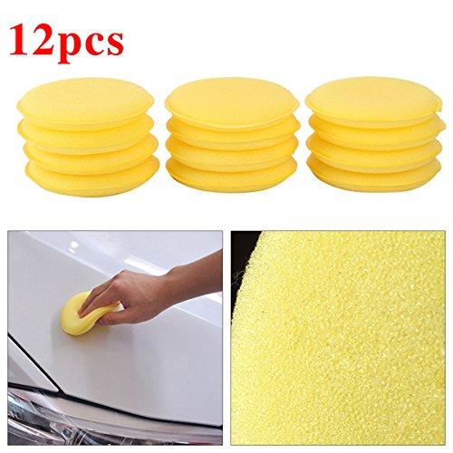 VORCOOL 12pcs Yellow Waxing Polish Wax Foam Sponge Applicator Pads Cars Vehicle Glass Clean