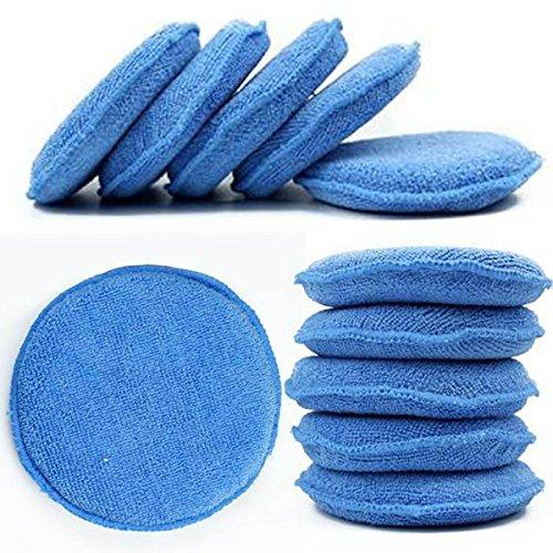 WINOMO Blue Microfiber Wax Applicator 10pcs Sponge Round Shaped Car Wax Sponge Pads Foam for Cars Vehicle Glass Clean