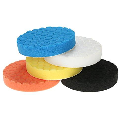 KKmoon 5PCS Brand New 3 80mm4 100mm5 125mm6 150mm7 180mm Car Polishing Pads Waxing Buffing Pad Sponge Kit Set for Car Polisher Buffer Waxer Sander Polishing Waxing Sealing Glaze