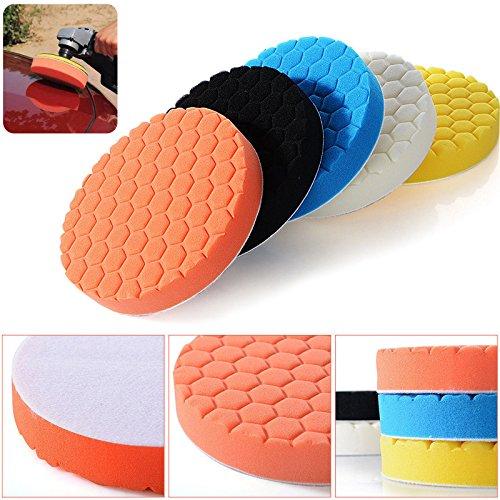 Buffing Pads Uranny 5 Pack 67 Compound Buffing Sponge Pads Polishing Pads Kit Auto Car Foam Polisher For Car Polisher SandingPolishingWaxing 6 Inch