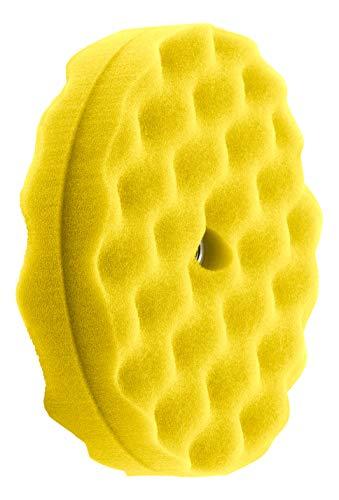 HI-Buff 8 Double Sided Foam Buffing Pads Polishing Pad Waffle Design Hook Loop Backing Yellow Medium Cut