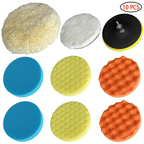 Polishing Pads Wool Pad Kit 10Pcs 7180Mm Waffle Foam Buffing Pads for Car Polisher Detail Polishing with Drill Adapter Fit for Cars Van Glass Stone Ceramic Wood Plastic Glass Etc